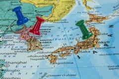 Map of North Korea, South Korea and Japan. With a pushpin stuck stock photo