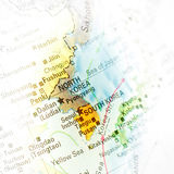 Map of North Korea and South Korea. Close-up macro image. Selective focus with vignette stock photo