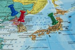 Map of North Korea, South Korea and Japan. With a pushpin stuck royalty free stock photography
