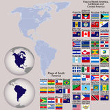 Map of North and South America with all flags. And Earth globes Stock Images