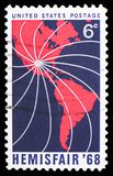 Map of North and South America, Lines Converging on Texas, Hemisfair 1968 Issue serie, circa 1968. MOSCOW, RUSSIA - FEBRUARY 10, 2019: A stamp printed in United stock images