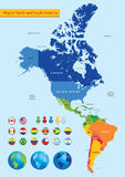 Map of North and South America. Vector illustration, color map of North and South America Stock Photography