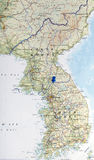 Map of north and south Korea with pushpin on the boarder illustr Royalty Free Stock Photos