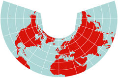 Map of Northern Hemisphere - Albers projection Stock Photo