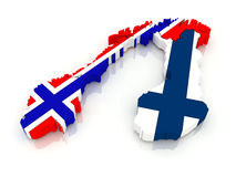 Map of Norway and Finland. Stock Images