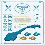 Map of Norway, icons, loader, sale prices and icons. Seafood Norvegian fish. Map of Norway, icons, loader, sale prices and icons Stock Images