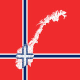 Map of Norway with lakes and rivers. Royalty Free Stock Photography