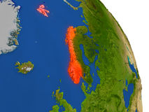 Map of Norway in red Stock Image