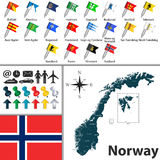 Map of Norway. Vector map of Norway with regions with flags Stock Photography