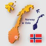 Norway. Map Norway. Vector silhouette of the Norwegian flag. The country`s capital - Oslo Royalty Free Stock Image