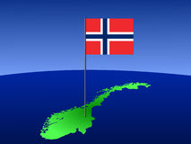 Map With Norwegian Flag. Map of Norway and norwegian flag on pole illustration Stock Photo