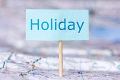 Map with note about holiday Stock Images