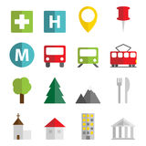 Map objects icons. Set of 16 vector flat icons with transportation, objects and monuments symbols vector illustration