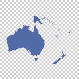 Map of Oceania on isolated background. Flat vector.  Royalty Free Stock Photo