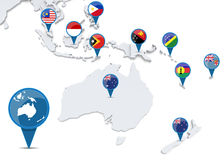 Map of oceania with national flags. Of states Royalty Free Stock Image