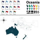 Map of Oceania. Vector of political map of Oceania set with buttons flags on white background Royalty Free Stock Image