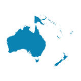 Map of Oceania on a white background. Flat vector illustration Stock Image