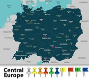 Free Map Of Central Europe Royalty Free Stock Photography - 139182307