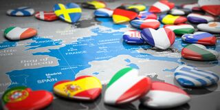 Free Map Of Europe  And Hearts With Flags Of European Countries. Travel  And Tourism To European Union EU Concept Royalty Free Stock Photography - 179656747