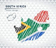 Free Map Of South Africa With Hand Drawn Sketch Pen Map Inside. Vector Illustration Stock Images - 118543644