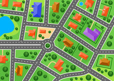 Map Of Suburb Or Little Town Stock Photos