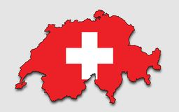 Map Of Switzerland, Filled With The National Flag Stock Photo