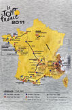 Map Of The 2011 Tour De France Stock Image