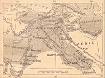 Free Map Of The Assyrian Empire Stock Photography - 135698332