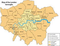 Free Map Of The London Boroughs Stock Photography - 10241562