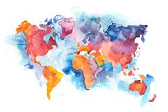 Free Map Of The World With Oceans And Seas. Watercolor Hand Drawn Stock Image - 196130761