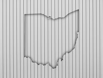 Map of Ohio on corrugated iron. Colorful and crisp image of map of Ohio on corrugated iron stock photography