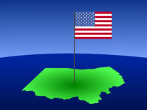 Map of Ohio with  Flag Royalty Free Stock Image