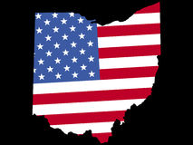 Map of Ohio with flag vector illustration
