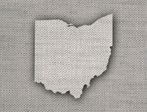 Map of Ohio on old linen royalty free illustration