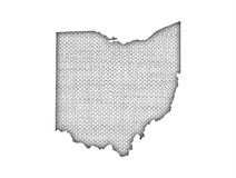 Map of Ohio on old linen royalty free stock photos
