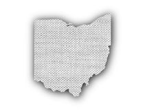 Map of Ohio on old linen vector illustration