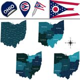 Map of Ohio with Regions. Vector map of Ohio with named regions and travel icons Stock Photo