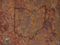 Map of Ohio on rusty metal. Colorful and crisp image of map of Ohio on rusty metal stock image