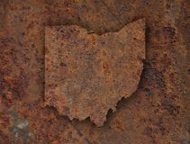 Map of Ohio on rusty metal. Colorful and crisp image of map of Ohio on rusty metal stock images