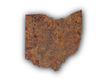 Map of Ohio on rusty metal. Colorful and crisp image of map of Ohio on rusty metal stock photo