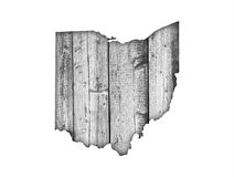 Map of Ohio on weathered wood Royalty Free Stock Photography