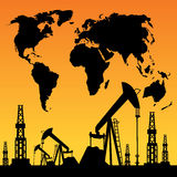 Map and oil rig Royalty Free Stock Photos