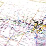 Map of Oklahoma City. A map with the focus on Oklahoma City in Oklahoma, USA Stock Photo