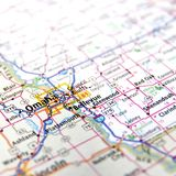 Map of Omaha. A map with the focus on the city of Omaha in Nebraska Stock Image