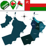 Map of Oman with named governorates Stock Photos
