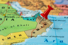 Map of  Oman with a red pushpin stuck Royalty Free Stock Photography