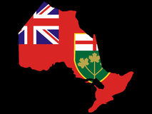 Map of Ontario. And their flag illustration Stock Image