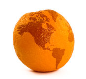 Map on orange Stock Photography