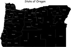 Map of Oregon. State designed in illustration with the counties Stock Images