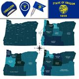 Map of Oregon with Regions. Vector map of Oregon with named regions and travel icons Stock Photo